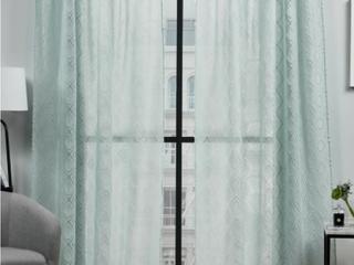 Pair of Helman Geometric Sheer Rod Pocket Curtains   Blue