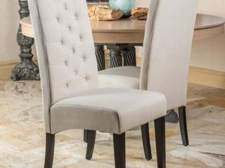 Pair of Tall Natural Plain Fabric Dining Chairs   Natural Plain