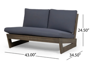 Sherwood Outdoor Acacia Wood 2 Seater   Grey Finish w  Dark Grey Cushion