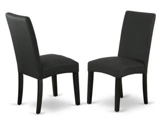 Pair of Driscol Parson Dining Chairs   Black Fabric Black leg