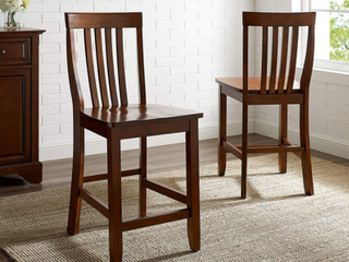Pair of School House Vintage Mahogany Dining Chairs