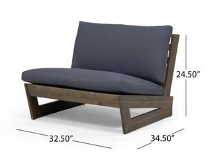Sherwood Acacia Wood Club Chair   Grey Finish w  Dark Grey Cushion