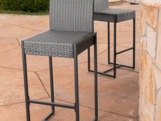 Pair of Conway Outdoor Wicker Barstools   Grey