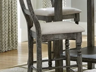 Pair of Progressive Muses Weathered Peppered ladder Back  Soft Seat  Dining Chairs