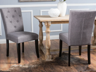 Pair of Christopher Knight Home Nyomi Fabric Dining Chairs   Slate Grey