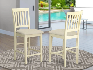Pair of Vernon White Wood Counter Height Stools w  Fabric Upholstered Seats   Buttermilk Finish