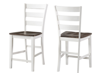 Pair of Kona Grey and White Wood ladder Back Dining Chairs