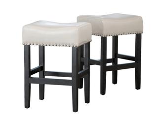 laramie 26  Bonded leather Backless Barish Saddle Seat Counter Stool   Ivory