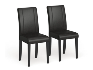 Pair of Round of Hill Urban Style Solid Wood leatherette Small Padded Parson Dining Chairs   Black