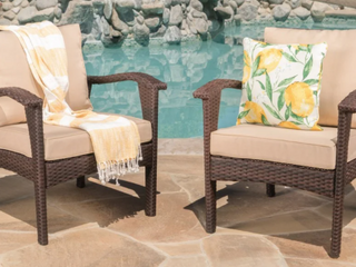 Pair of Honolulu Outdoor Wicker Club Chair   Brown Finish w  Tan Cushions