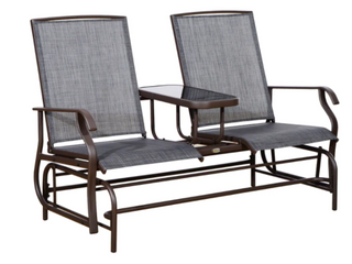 Outsunny Two Person Outdoor Mesh Fabric Patio Double Glider Chair w  Center Table