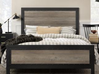 Carbon loft Santos Rustic Metal and Industrial Wood Panel Queen Bed   RUSTIC OAK
