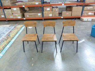 Set of 3 Wood and Metal Dining Chairs