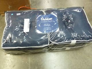 Set of 4 Navy Blue White Outdoor Cushions