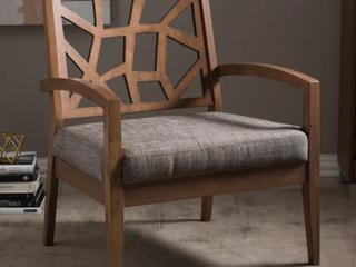 Single Baxton Studio Jennifer lounge Chair   Dark Brown
