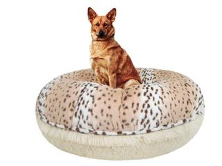 Bessie and Barnie Aspen Snow leopard Blondie luxury Shag Extra Plush Faux Fur Bagel Pet Dog Bed