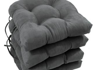 Blazing Needles 16  U Shaped Micro Suede Outdoor Indoor Cushions   Steel Gray