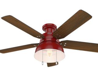 Hunter 52  Mill Valley Outdoor low Profile Ceiling Fan   Red Finish w  Walnut Blade