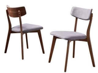Pair of Chazz Mid Century Dining Chairs   Dark Grey Fabric w  Natural Walnut Finish