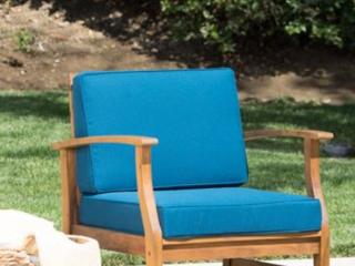 Kourtney Outdoor Acacia Wood Chair   Teak Finish w  Cushion