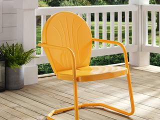 Crosley Howard Bay Tangerine Metal Outdoor Chair