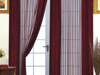Pair of Burgundy Feeley Nature Floral Sheer Rod Pocket Curtains