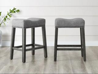 Pair of The Gray Barn Barish Backless Saddle Seat Counter Stools   Grey