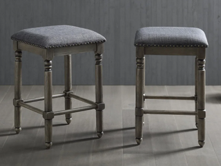 Pair of Round of Hill Furniture Arnhem Wood Upholstered Counter Height Stools   Grey