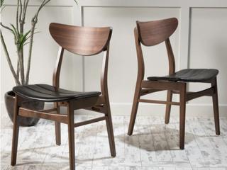 Pair of Anise Wood Rectangular Dining Chairs   Dark Brown