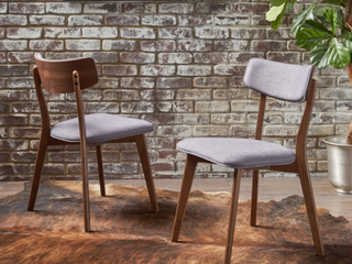 Pair of Chazz Mid Century Dining Chairs   Dark Grey
