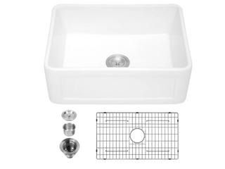 lordear 24  Fireclay Farmhouse Ceramic Kitchen Sink   White