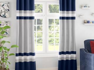 Reedsville Alexander Striped Room Darkening Thermal Curtains   Navy Blue