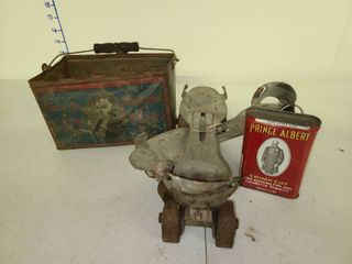 Vintage Skates with Price Albert Can and George Washington Cut Plug Tin Box