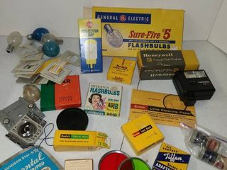 Vintage Camera Items Flashbulbs and lens Filters