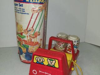 Vintage Playskool Tinker Toys and Johnson and Johnson Car