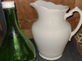 Vintage Green Glass Bottle with Ceramic Pitcher