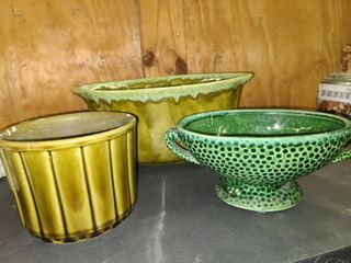 Jenkins Ceramics 52 with USA 490 and Green Ceramic Bowls