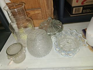 Assorted Glass Candy Dishes and lemonade Pitcher