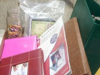 Various Office Supplies with 2 Photo Albums