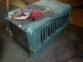 Pet Crate 18 x 19x 28 in with Doggie House Door and Mesh Muzzle and Small Collar