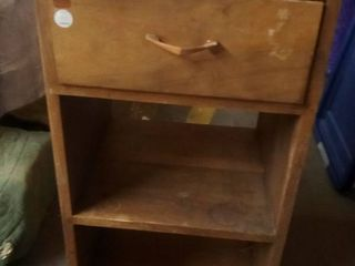 Wood Nightstand 1 Drawer 2 Shelves 29 x 17 x 15 5 in