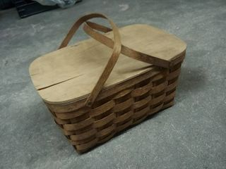 Basketville Wood Picnic Basket with Red White and Blue Plastic Dishes