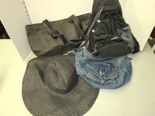 Mesh Tote with Matching Sun Hat and Denim Handbag with Bekahizar Bookbag