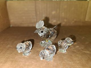 Swarovski Crystal Miniatures Mother Henry with 3 Baby Chicks