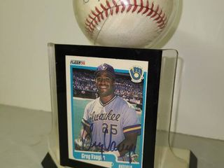 Autographed Greg Vaughn Card and Baseball