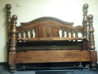 Antique Solid Wood Headboard 64 x 83 in and Footboard with Bed Rails Slits for Bedrails are Either 80 or 74 in Wide