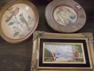 vintage Cardinal framed round picture   other framed art