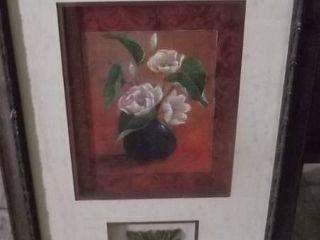 framed flower art w medallion