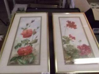 2 framed floral art work