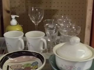 serving bowls   coffee mugs   soap dispenser  glasses